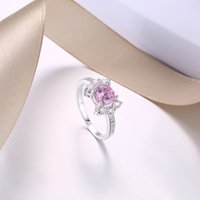 아름다운 공주 패션 실버 링 시뮬레이션 핑크 다이아몬드 반지 보석 신부 결혼 반지 남자 / 여자 결혼 반지 사랑