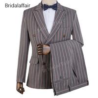 Gwenhwyfar Ismarlama Damat Smokin Çizgili Baskılı Erkekler Suit Set Düğün Balo Slim Fit Erkek Takım Elbise Için Set 2 Parça (Ceket + Pantolon)