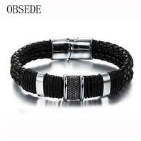OBSEDE мода натуральная кожа мужчины браслет Титана нержавеющей стали манжеты браслеты черный Кос веревки панк серебряный цвет ювелирных изделий