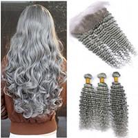 Ofertas de paquetes de cabello humano de color gris plateado brasileño 3 unidades con cierre frontal de onda profunda de color gris pelo virginal teje con encaje frontal 13x4