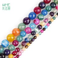 "Rainbow Dyed Color Natural Stone Beads 15"" Strand 4 6 8..."