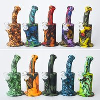 Printing 8. 5inches Silicone Water Pipe Recycler Bubbler unbr...