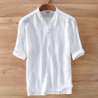 High-end männer hemd leinen im chinesischen stil mode hemd männer sommer weiße hemden feste flachs shirts herren camisa masculina 3XL