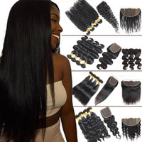 8A Straight Brazilian Human Hair 4 Bundles with Closure Body...
