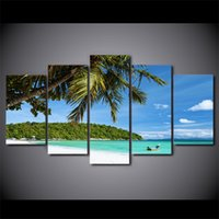 HD Printed 5 Piece Canvas Art Tropical Island Painting Modul...