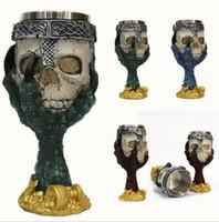 스테인레스 스틸 고딕 양식의 잔 할로윈 파티 마시는 유리 3D 해골 해골 클로 펑크 스타일 와인 안경 위스키 컵