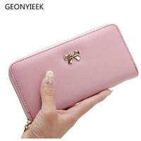 Frauen Lange Clutch Wallets Weibliche Mode Pu-leder Bowknot Münztüte Telefon Geldbörsen Berühmte Designer Lady Kartenhalter Brieftasche