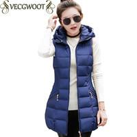 2017 autunno e inverno lungo gilet donna nuovo Slim grandi dimensioni giacca con cappuccio donne Vest moda vestiti di colore solido Coon X644