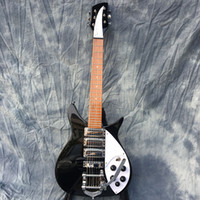 Zeldzame John Lennon 325 korte schaal lengte 527mm jetglo 6 string zwarte elektrische gitaar bigs staartstuk, glans verf fretboard, 3 broodrooster pickup2