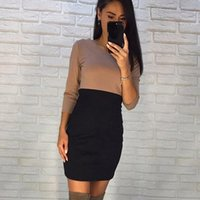 Skinny Mini Dress Women Elegant Three Quarter Sleeve Autumn ...
