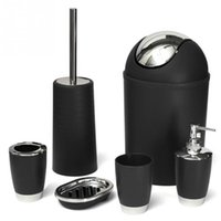 HOT Bathroom Accessories Sets 6Pcs/Set Bathroom Necessities Toothbrush Holder Toilet Brush Soap Dish Bin Cup Sprayer Bottle