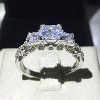 رومانسية خمر أنثى عصابة ثلاثة الحجر Diamonique تشيكوسلوفاكيا الماس 925 فضة الاشتباك خاتم الزواج فرقة للنساء