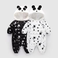 Inverno bebê romper panda estrela padrão jumpsuit com capuz snowsuit bebê meninas inverno baixo algodão casaco outerwear crianças
