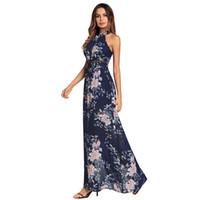276c3ef1fb2 En gros livraison gratuite Mode Femmes Boho Halter Dos Nu En Mousseline De  Soie Split Cross