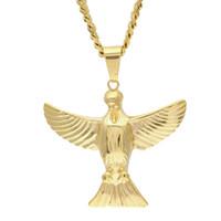 Нержавеющая сталь Золотой орел ожерелье Апостол повезло ювелирные изделия Bling горный хрусталь мужская хип-хоп рука ожерелье
