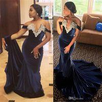 Nova marinha azul de veludo sereia vestidos de noite 2018 áfrica da áfrica africano ombro off frisado fishtail prom vestidos de festa de desgaste formal