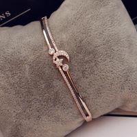 Luxury cubic zirconia stella luna braccialetto di fascino braccialetto in oro rosa braccialetto placcato per le donne gioielli festa di nozze regalo di Natale