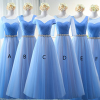 Tulle Long Bridesmaid Dresses with Crystal Waist Sash Cheap ...