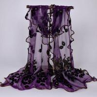 Donna Donna Seta Lunga Morbida Sciarpa di pavone nera Sciarpa a portafoglio Sciarpe di pizzo Sciarpe di pizzo Sciarpa di pavone