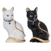 خمر نمط مجوهرات المنظم الدائري حامل الحيوان حلية المجوهرات مربع مصغرة القط تمثال القطة هدايا تحت عنوان القط قلادة الطبق