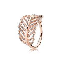 925 prata esterlina anéis de penas com Limpar CZ diamante caber Pandora estilo da jóia por Mulheres Rosa de Ouro 18K cristal anel de casamento