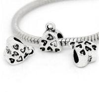 100 stks Alloy Bails Spacer Beads Antique Silver Charms voor DIY Ketting Sieraden Maken Bevindingen 9x11mm