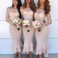Sexy Off Shoulder African Bridesmaid Dresses Lace Long Sleev...