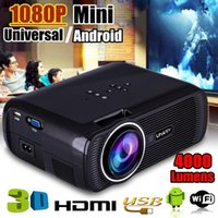 4000 Lumens Universal / Android Mini LED 3D Projetor Preto 1080 P HD Multimídia Portátil Home Theater Cinema