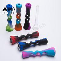 Cam Tüp Horn FDA Herb Sigara Borular Sigara Filtresi Tütün El Aracı 545 ile Mini Renkli Silikon El Boru