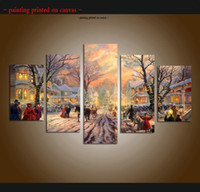 large 5 piece thomas kinkade landscape oil painting reproduction giclee print canvas modern christmas art wall for living room home decor