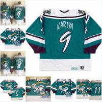 Poderosos patos 11 Valeri Karpov Wild Wild Jersey 5 dirr 1995-1996 Vintage 8 Teemu Selanne 9 Paul Kariya Stitched Hockey Jerseys