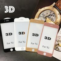 Protector de pantalla 3D Premium 9H Protector de pantalla de vidrio templado Cobertura completa para iphone 7plus 6plus 7 6 con paquete al por menor