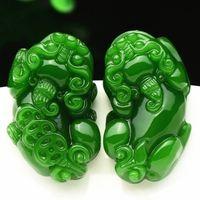 2018 Nuevo Jade Verde Colgante Tallado Pixiu Con Moneda de Los Hombres Amuleto de Los Hombres estatua de jade Jades Colgantes de Joyería + Collar de Perlas