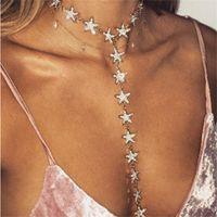 Ahmed Sexy Mehrschichtige voller Rhinestone-Stern-Anhänger-Halskette für Frauen-Mode-Charme-Kragen-Bijoux Statement Schmuck