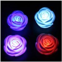 Sept gros couleur changeable Led Lumières Rose lampe de nuit de fête de Noël de mariage Jouets flash Accueil lumières Décoration