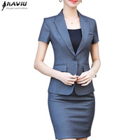 NAVIU New Mode Frauen Rock Anzug zweiteilige Set Kurzarm Top und Rock für Sommer Büro Damen einheitliche Arbeitskleidung