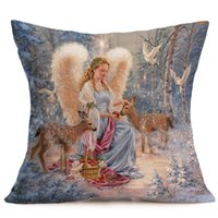 4PCS Cute Christmas Linen Zipper Pillow Cases Cushion Angel ...