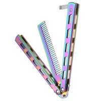 Rainbow Foldable Comb Stainless Steel Practice Training Butt...