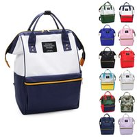Fashion Canvas Casual Hit Color Backpack Girls Boys Student ...