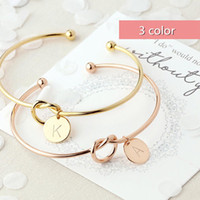 Fashion women 26 letter bracelet bangles non- fading 3 color ...