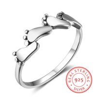 New Women Solid 925 Sterling Silver Four Feet Rings Baby Fee...
