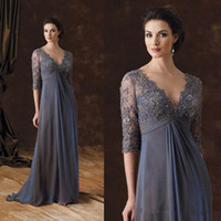Long Ruched Chiffon Mother of the Bride Dresses with Lace Ha...
