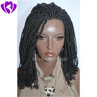 Heißer Verkauf kurze Kinky Twist geflochtene Spitzefrontseitenperücken volle Hand gebundene synthetische Haarperücken mit lockigen Tipps für Afroamerikaner
