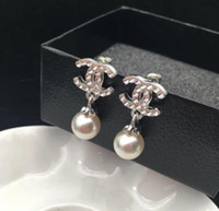 Fashion Pearl Dangle Drop Earrings Double Layers Crystal Let...