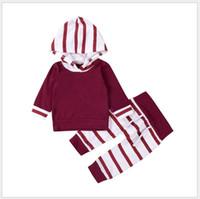 Vendita al dettaglio 2018 Primavera Autunno Bambino Ragazzi Ragazze che coprono gli insiemi Felpe a strisce a maniche lunghe per bambini + pantaloni 2 pezzi Set bambini Vestito Toddler Suit