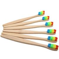 Spazzolino di bambù Spazzolino da denti di bambù Arcobaleno Spazzolino in fibra Spazzolino in legno colorato Spazzolino in setole morbide