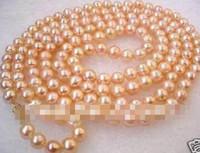 """Livraison gratuite en gros livraison gratuite 7-8mm rose collier de perles d'eau douce 33 """""""