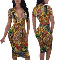 Лето Плюс Размер Женская одежда African Printed Sexy Глубокий V-образным вырезом бинты Bodycon платья износа клуба Vestidos Robe Femme
