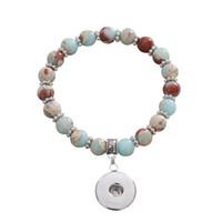 3pcs Nouveau bracelets en pierre naturelle perle bracelet élastique main bouton pression breloque en forme 18mm bouton bijoux en gros accrochage