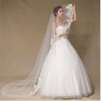 Brides velo di nozze, ciglia solubile in acqua elegante di fascia alta bianca, velo in pizzo, velo lungo 3m, garza del filo a terra, fabbrica all'ingrosso diretto all'ingrosso